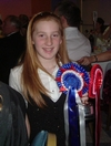 Shelby with her trophy and rosettes at the AGM